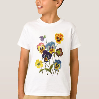 Embroidered Parade of Pansies T-Shirt