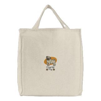 Embroidered Pug Dog Tote Bag