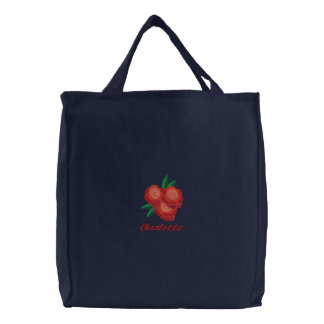 Embroidered Red Flower Tote with Custom Text
