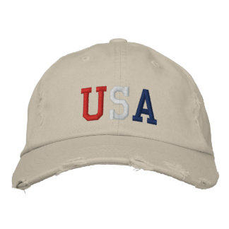 Embroidered Red White and Blue USA Sports Hat Embroidered Baseball Caps