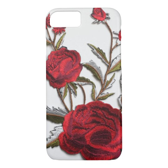 Embroidered rose red roses embroidery trendy iPhone 8/7