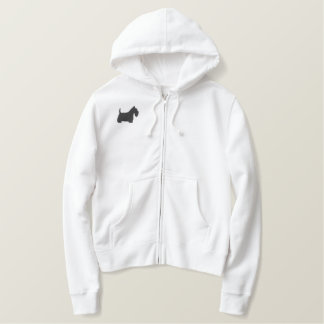 Embroidered Scottish Terrier Silhouette Embroidered Hoody