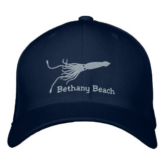 Embroidered Squid Hat - Navy - with Custom text Embroidered Hat