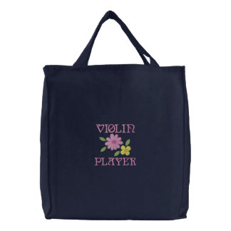 Embroidered Violin Player Tote Bag