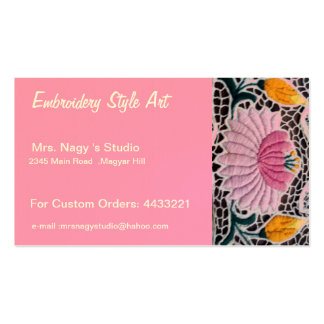 embroidered water lilly in kalocsai style Double-Sided standard business cards (Pack of 100)