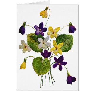 Embroidered White, Yellow and Purple Violets Greeting Card