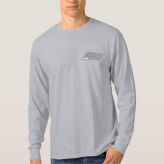 Embroidery 100131 2c Silver Grey & White. Embroidered Long Sleeve T-Shirt