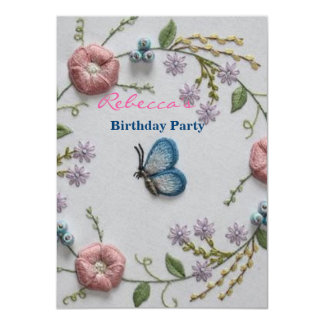 Embroidery Floral and Butterfly 11 Cm X 16 Cm Invitation Card