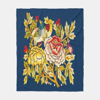 embroidery Hand made flower Fleece Blanket