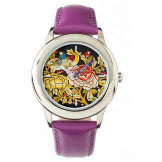 embroidery Hand made flower Wristwatch