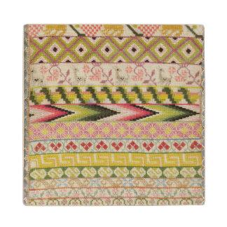 Embroidery sampler wood coaster
