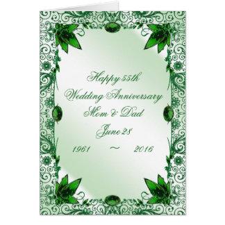 Emerald 55th Wedding Anniversary Greeting Card