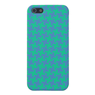 Emerald and Bright Blue Houndstooth Pattern iPhone 5/5S Case
