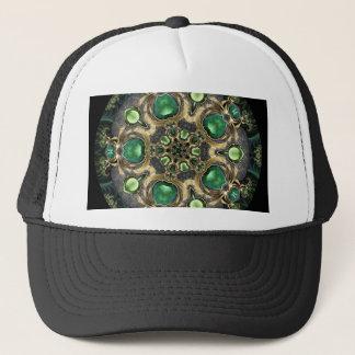 Emerald and Gold Kaleidoscope Trucker Hat