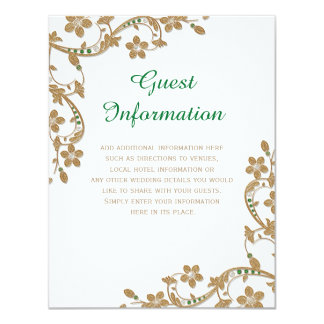 Emerald and Gold Wedding Guest Information Card