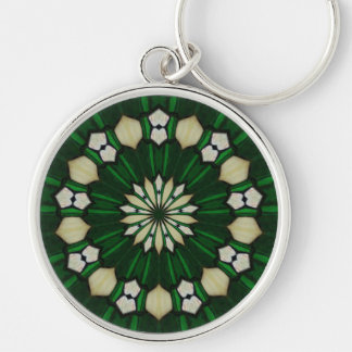 Emerald and Ivory Glass Keychain