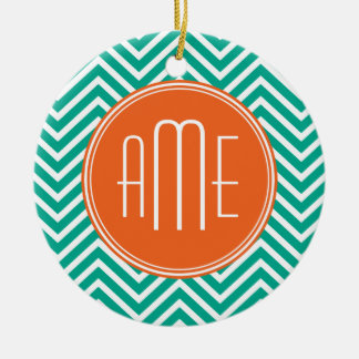 Emerald and Orange Chevrons Custom Triple Monogram Christmas Ornament