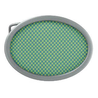 Emerald Belt Buckle, Blue and Green Polka Dots Oval Belt Buckles