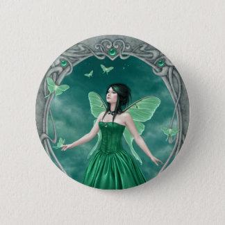 Emerald Birthstone Fairy Button Badge