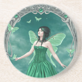 Emerald Birthstone Fairy Sandstone Drink Coaster