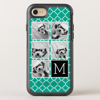Emerald & Black Instagram 5 Photo Collage Monogram OtterBox Symmetry iPhone 8/7 Case