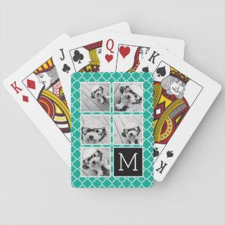 Emerald & Black Instagram 5 Photo Collage Monogram Poker Deck
