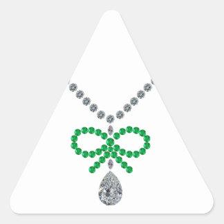 Emerald Bow Necklace Triangle Sticker
