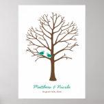 Emerald Brown Birds Fingerprint Tree Wedding