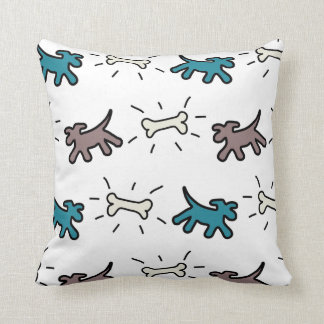 Emerald brown Dogs and Bones Graffiti Style Pillow