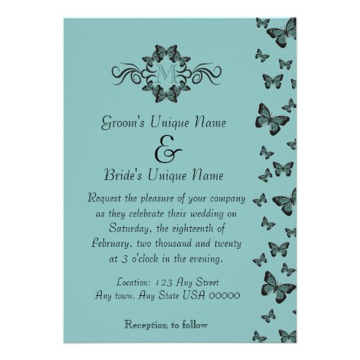 Emerald Butterflies Monogram Wedding Card