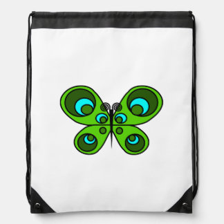 Emerald Butterfly Drawstring Backpack