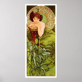 Emerald by Alphonse Mucha - Vintage Poster Print