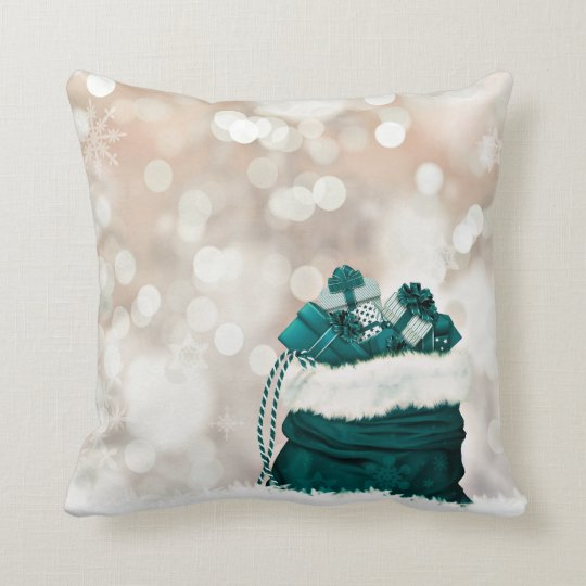 Emerald Christmas Presents Throw Pillow