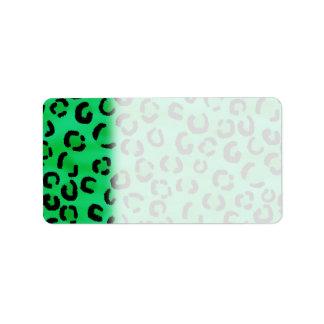 Emerald Color Leopard Print Pattern. Label