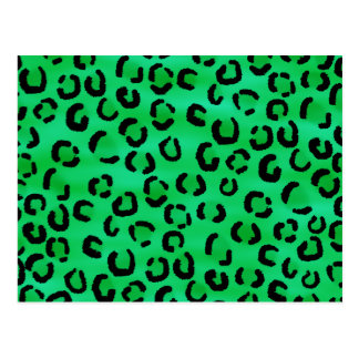 Emerald Color Leopard Print Pattern. Postcard