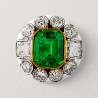 Emerald Diamonds Vintage Costume Jewelry Brooch 6 Cm Round Badge