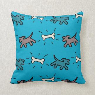Emerald Dogs and Bones Graffiti Style Blue Pillow