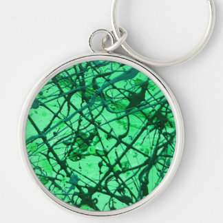 EMERALD DREAM vertical (an abstract art design) ~. Silver-Colored Round Key Ring