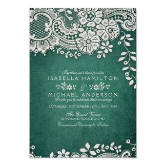Emerald elegant vintage lace rustic wedding card