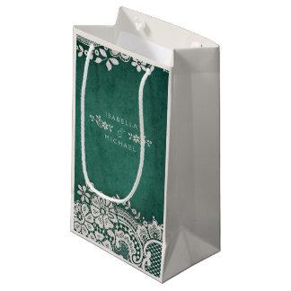 Emerald elegant vintage lace rustic wedding favor small gift bag