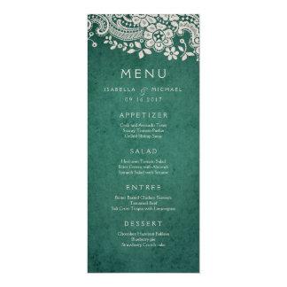 Emerald elegant vintage lace rustic wedding menu card