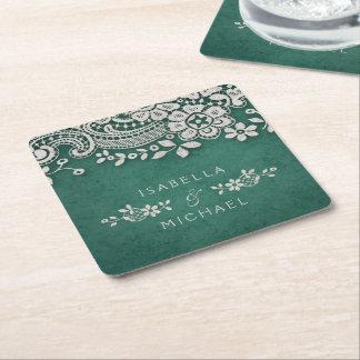Emerald elegant vintage lace rustic wedding square paper coaster