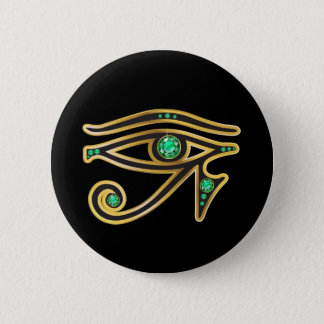 Emerald Eye of Ra in Gold 6 Cm Round Badge
