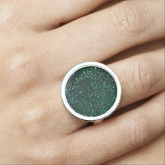 Emerald  Faux Glitter  Design Ring