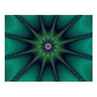 Emerald Fractal Starburst Postcard