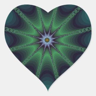 Emerald Fractal Starburst Heart Sticker