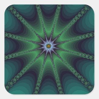 Emerald Fractal Starburst Square Sticker