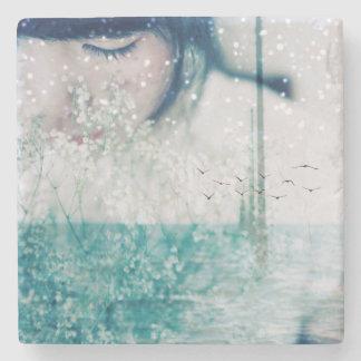 Emerald Girl Green White Shining Ocean Marble Stone Beverage Coaster