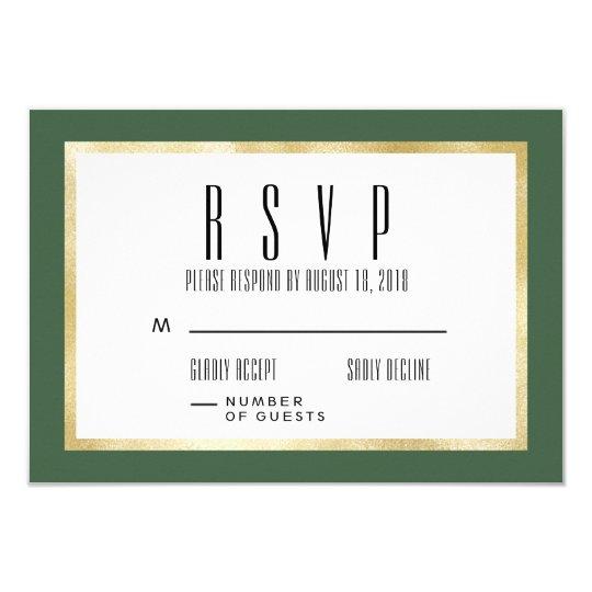 Emerald + Gold Classic Wedding Invite RSVP Card