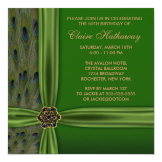 Emerald Gold Peacock 50th Birthday Invitation